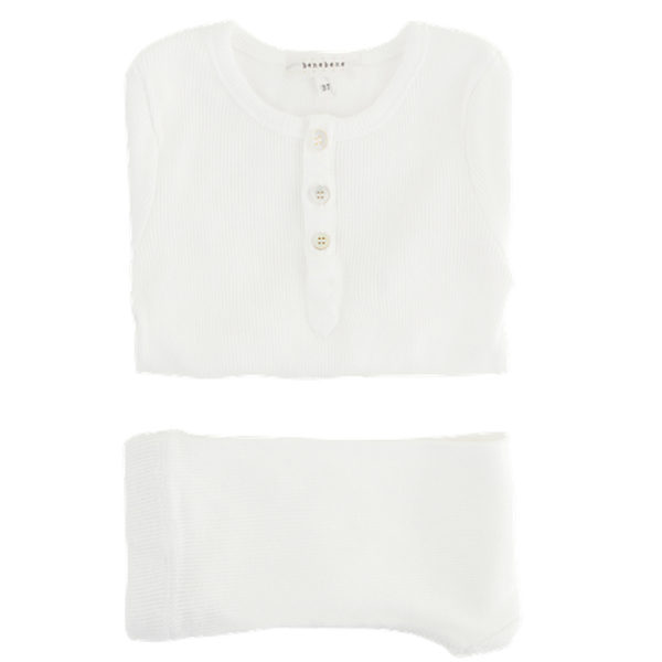 Ribbed Button Twin Set ivory